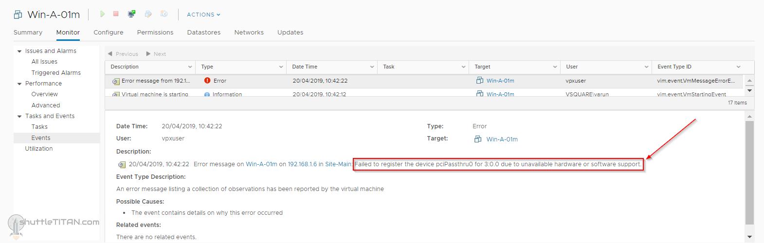 "PCI Passthrough – ""Module 'DevicePowerOn' power on failed"