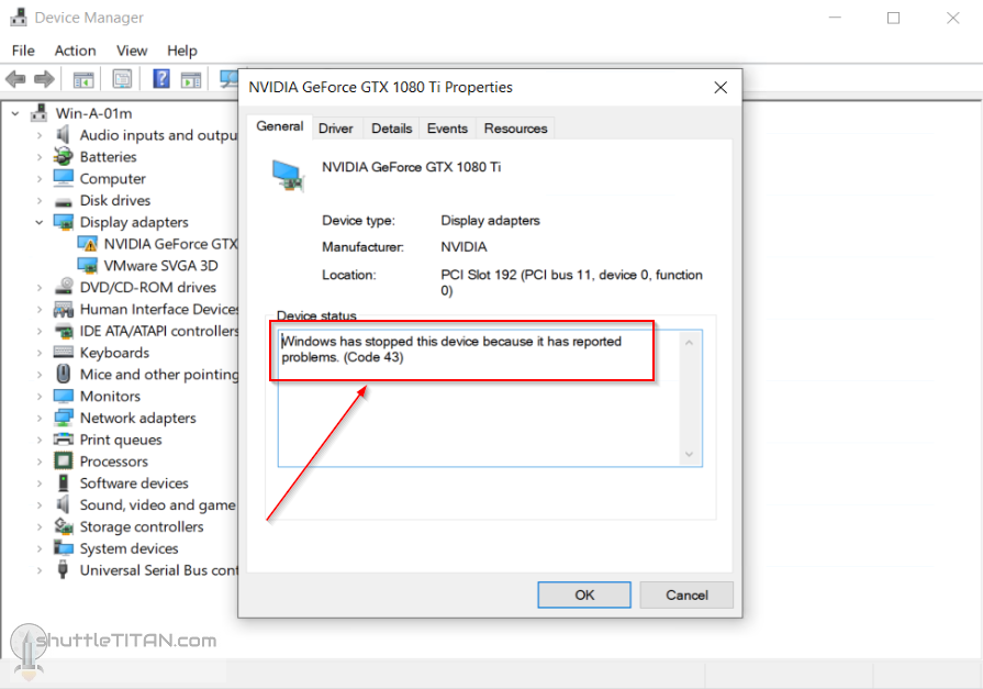 "Passthrough enabled PCI Graphic Card, reports problems (Code 43) in ""Windows OS"" guest VM"