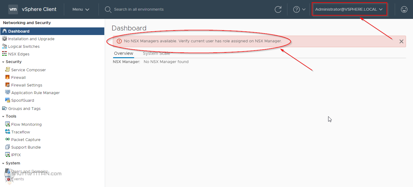"""No NSX Managers available. Verify current user has role assigned on NSX Manager."""