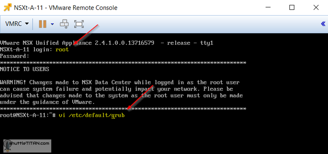 """Configure NSX-T Manager VM to display """"GRUB Menu"""" to prep for """"root"""" password reset in an emergency!"""