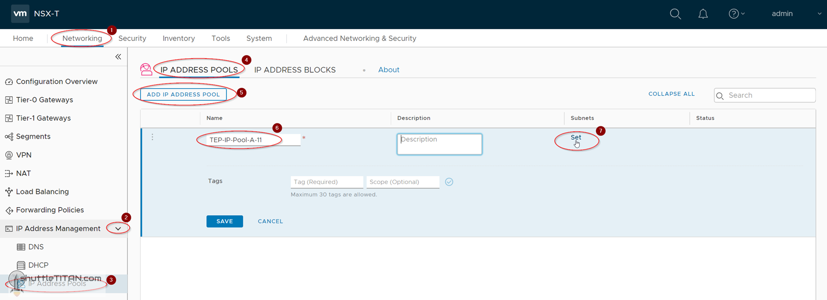 NSX-T Installation Series: Step 5 – Create IP Pool